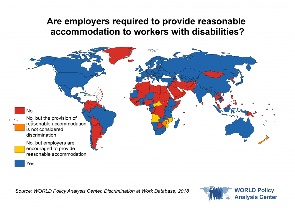 Are employers required to guarantee reasonable accommodation to workers with disabilities? This map of the world visualizes which countries require that employers guarantee reasonable accommodation to workers with disabilities, by region.
