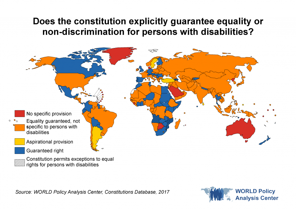 Does the constitution explicitly guarantee equality or non-discrimination for persons with disabilities? This map of the world visualizes which countries have constitutions that guarantee equality and non-discrimination to persons with disabilities, by region.