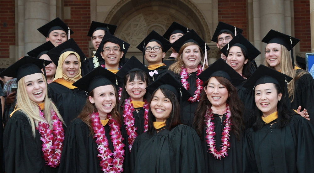 Group of 17 FSPH graduates on the steps of Royce Hall