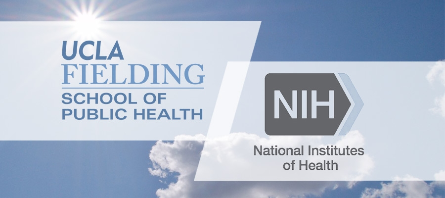 Logos for UCLA and National Institutes of Health against a sky backdrop