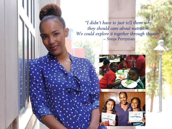A young african-american woman, Sonja Perryman, leaning up against building smiling. Inset images shows kids eating food and with their certificates.