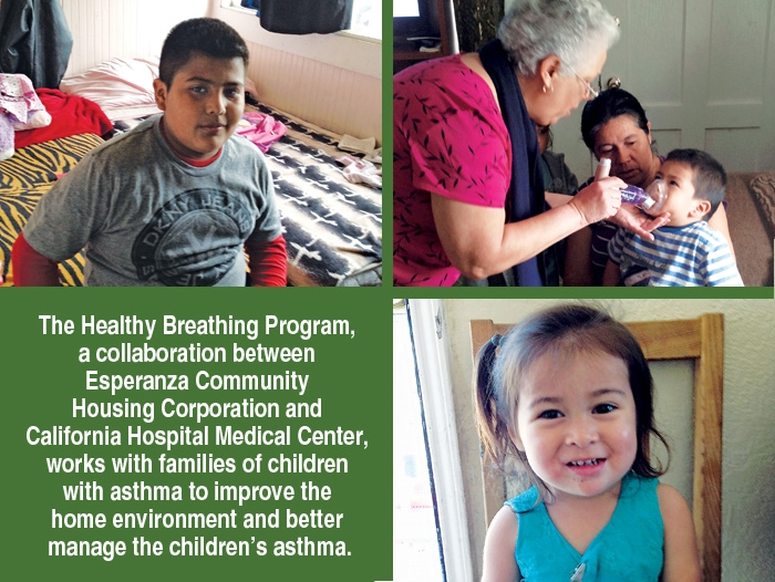 A group of three photos of some of the children The Healthy Breathing Program is helping along with caption.