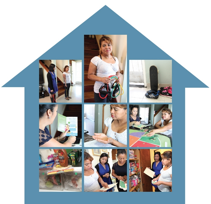 group of photos showing a dietitian and a community health worker on a home visit to an East LA resident.