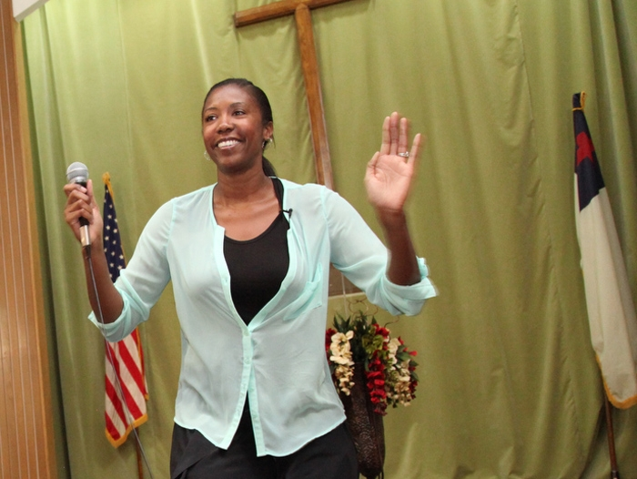 Denise Woods leading Instant Recess at a church in Los Angeles.