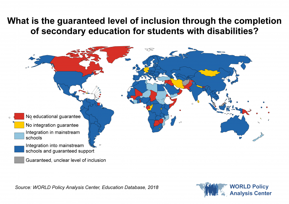What is the guaranteed level of inclusion through the completion of secondary education for students with disabilities?  This map of the world visualizes which countries guarantee inclusion through the completion of secondary education for students with disabilities.