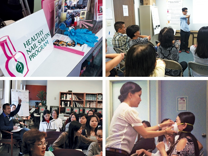 A Collage Of Four Images Relating To Nail Salon Workers Safety Program