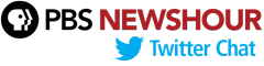 PBS Newshour Logo with Twitter Logo