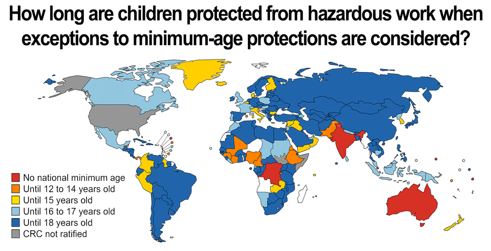 Infographic about minimum age laws for child labor worldwide