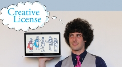 Student Adam Cohen with cartoon bubble that reads 'Creative License' holding ipad showing stick figure illustrations