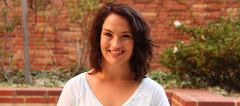 A young woman named Jenna Arzinger at the UCLA Fielding School of Public Health.