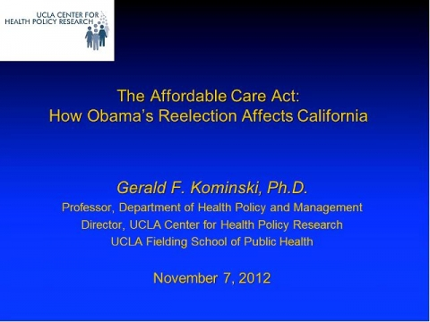 Continuing the Conversation - Election 2012: What Does it Mean for Health Care Reform?