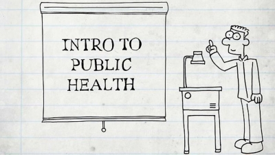 cartoon drawing of boy with projector and words ' Intro to Public Health'