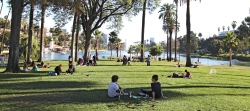 People relaxing at a Los Angeles park