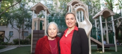 Esther Schiller and Marlene Gomez at Skyline Village, a smokefree affordable housing complex in Downtown Los Angeles.