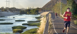 Runner along reviatlized section of LA River / photo by Markku Lahdesmaki