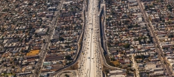 Highway goods corridor surrounded by residential neighborhood /iStockPhoto