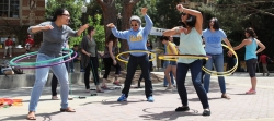 students using hoola hoops