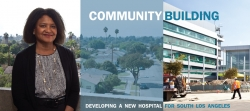 A woman standing overlooking a Los Angeles neighborhood along side of a photo of the MLKCH hospital building site.