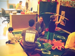 Volunteers and children at the agency Autism Speaks in New York City.