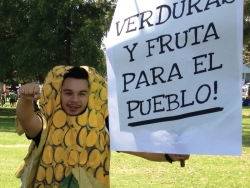 young student dressed in a corn-on-the-cob costume with protest sign.