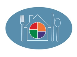 white outlined drawing of a house on a blue background with a fork, knife and spoon as a place setting and the new symbol for food portioning.
