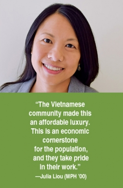 Headshot of Julia Liou with her quote.