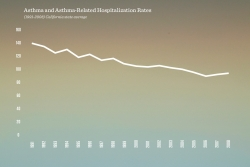 Chart of asthma rate falling over many years