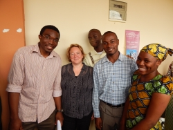 Dr. Hilary Godwin with Cameroonian students