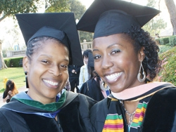 Dr. Denise Woods (r.) with Dr. Toni Yancey on the day that Woods received her Dr.P.H. from the Fielding School in 2011, is helping to carry forward the work of her late mentor.