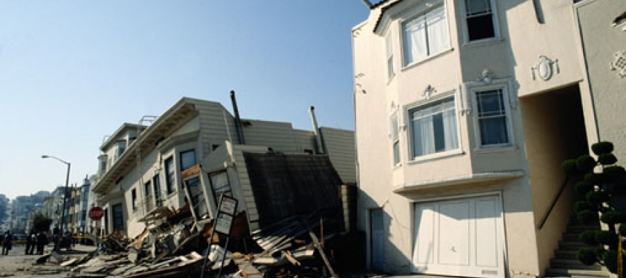 buildings damaged by an earthquake