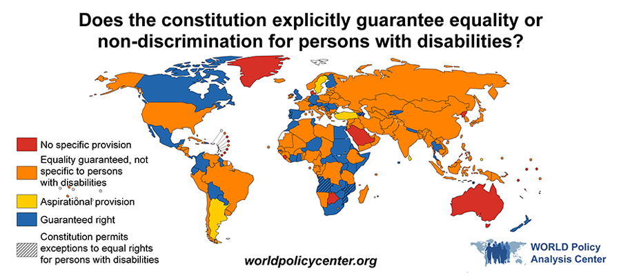 Title: Does the constitution explicitly guarantee equality or non-discrimination for persons with disabilities? This map of the world visualizes which countries have constitutions that guarantee equality and non-discrimination to persons with disabilities, by region.
