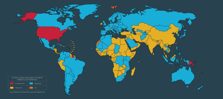 map of countries that provide paid leave to both parents of infants