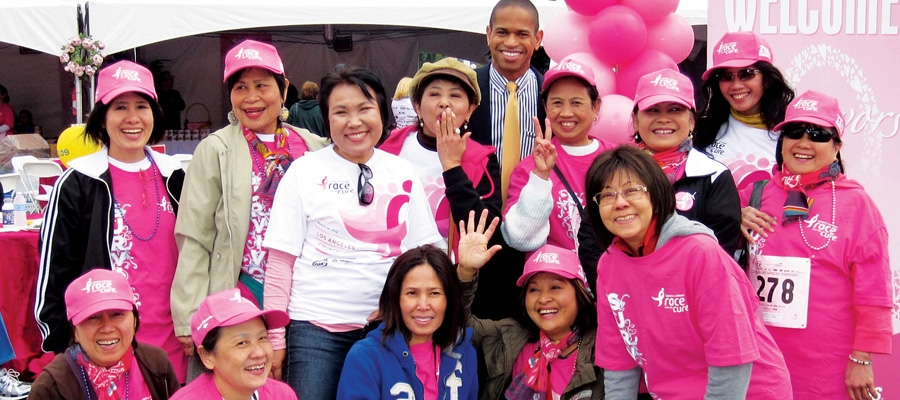 A group of Asian women at a cancer cure marathon.