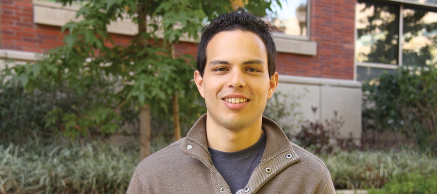 A young man named Paul Camarena at the UCLA Fielding School of Public Health.