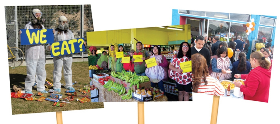 three protest posters showing student activists demonstrating food security, promoting fruits and vegetables in local corner stores and community outreach.