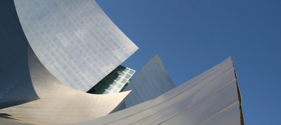 roof of Walt Disney Concert Hall against a blue sky