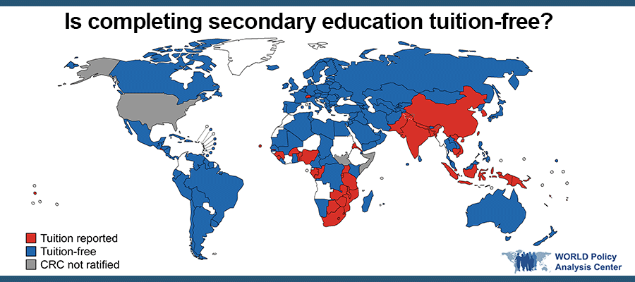 World Map: Is Secondary Education Tuition-free?