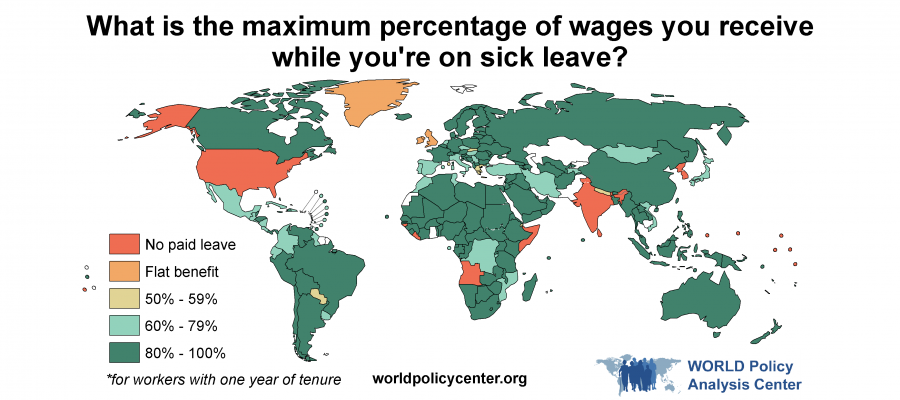 Map displaying sick leave benefits as percentage of wage