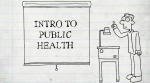 "Cartoon illustration of man with a projector and screen that reads, ""Intro to Public Health'"