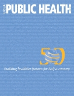 small white words on a blue background on the cover of the June 2011 issue of UCLA Public Health magazine