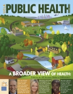 illustration of a town on the cover of the November 2010 issue of UCLA Public Health magazine