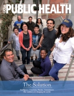Magazine cover of students standing on steps of CHS building